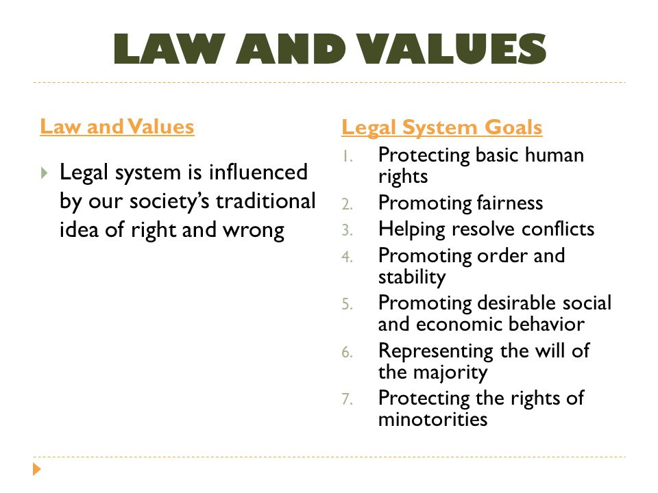 LAW AND VALUES Law and Values. Legal System Goals. Protecting basic human rights. Promoting fairness.