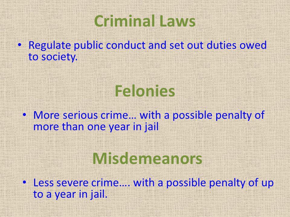 Criminal Laws Felonies Misdemeanors