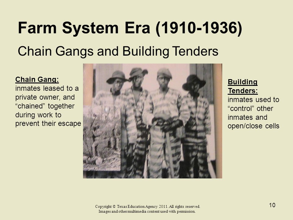 Farm System Era (1910-1936) Chain Gangs and Building Tenders