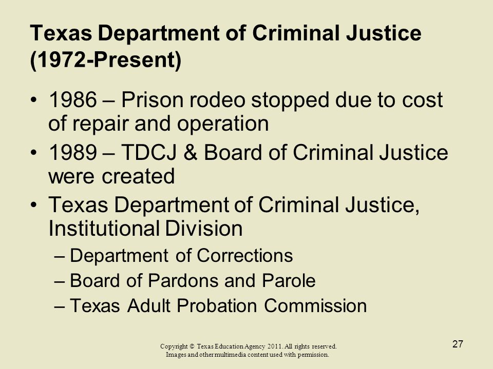 Texas Department of Criminal Justice (1972-Present)