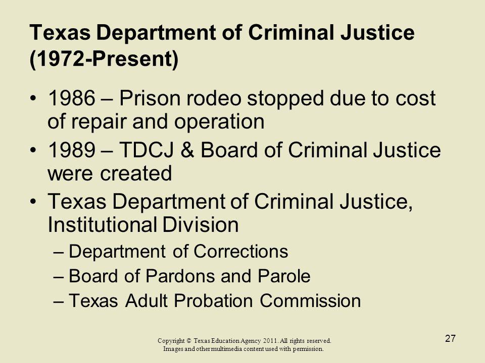 Texas Department of Criminal Justice (1972-Present)