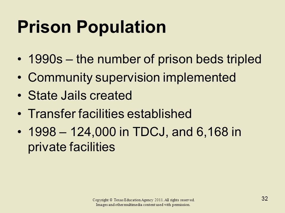 Prison Population 1990s – the number of prison beds tripled