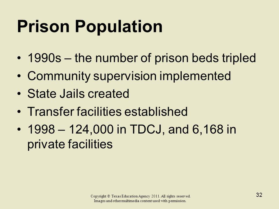 Prison Population 1990s – the number of prison beds tripled