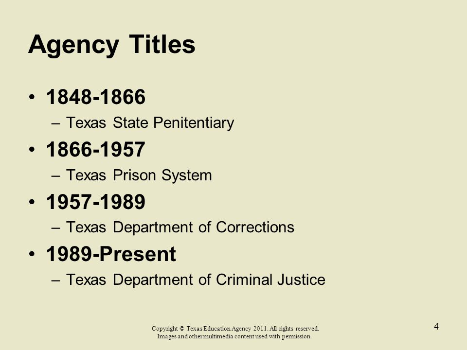Agency Titles 1848-1866 1866-1957 1957-1989 1989-Present