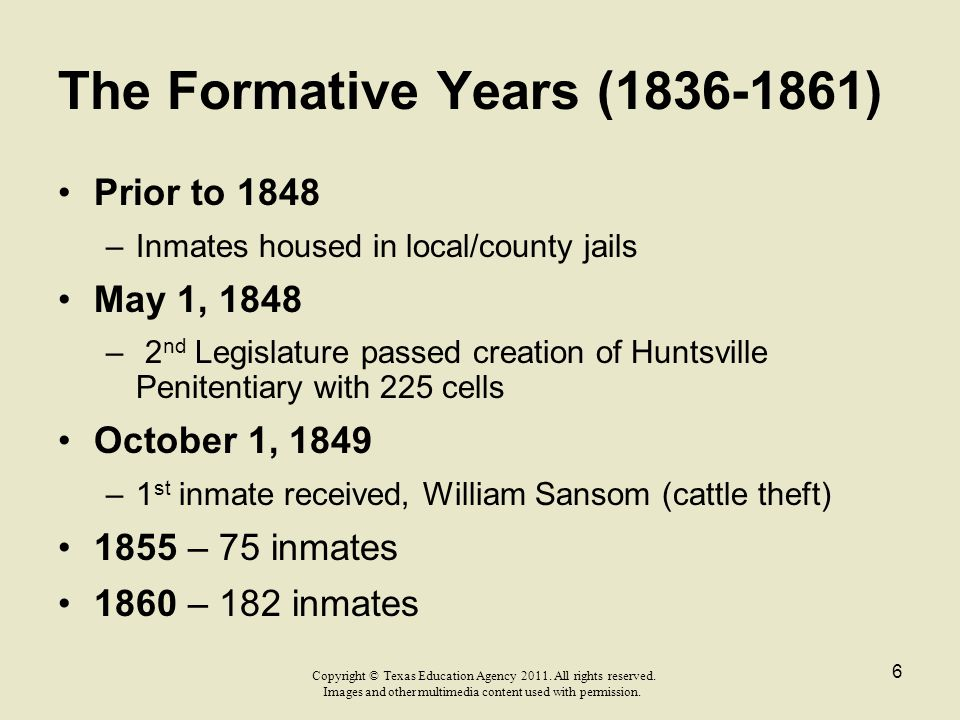 The Formative Years (1836-1861)