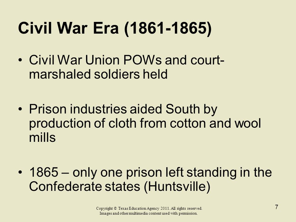 Civil War Era (1861-1865) Civil War Union POWs and court-marshaled soldiers held.