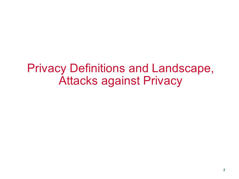 Privacy Definitions and Landscape, Attacks against Privacy