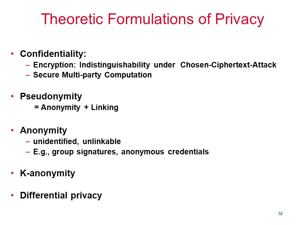 Theoretic Formulations of Privacy