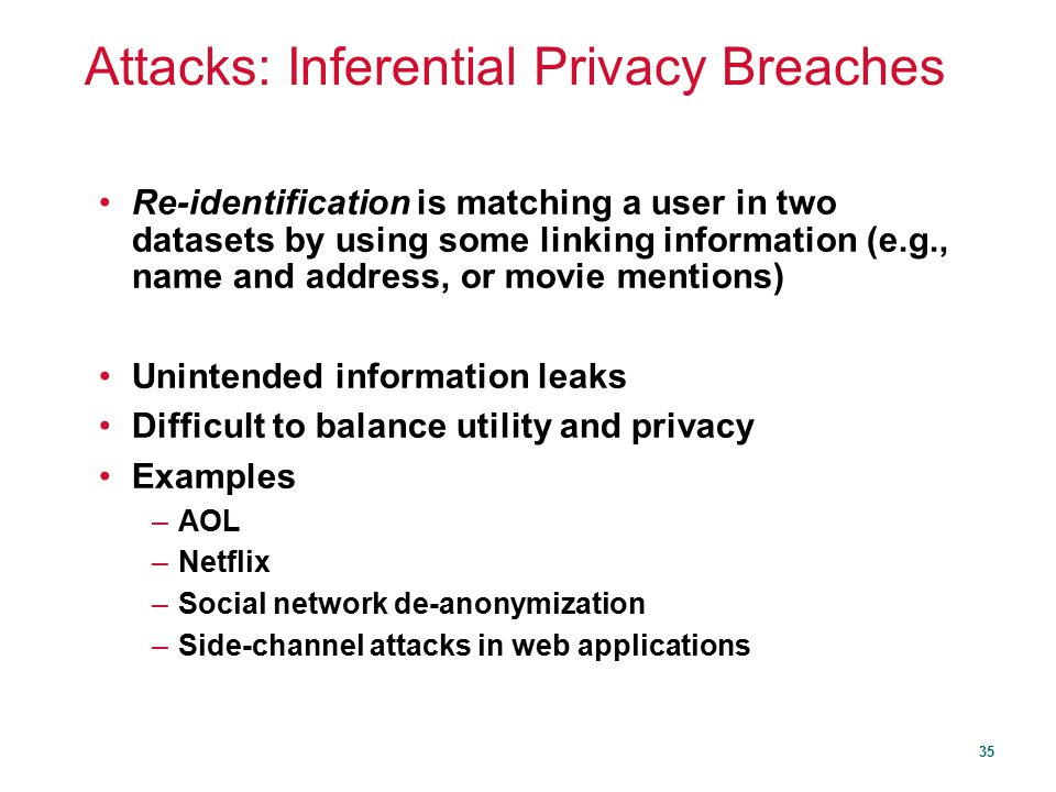 Attacks: Inferential Privacy Breaches