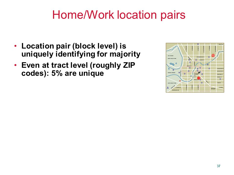 Home/Work location pairs