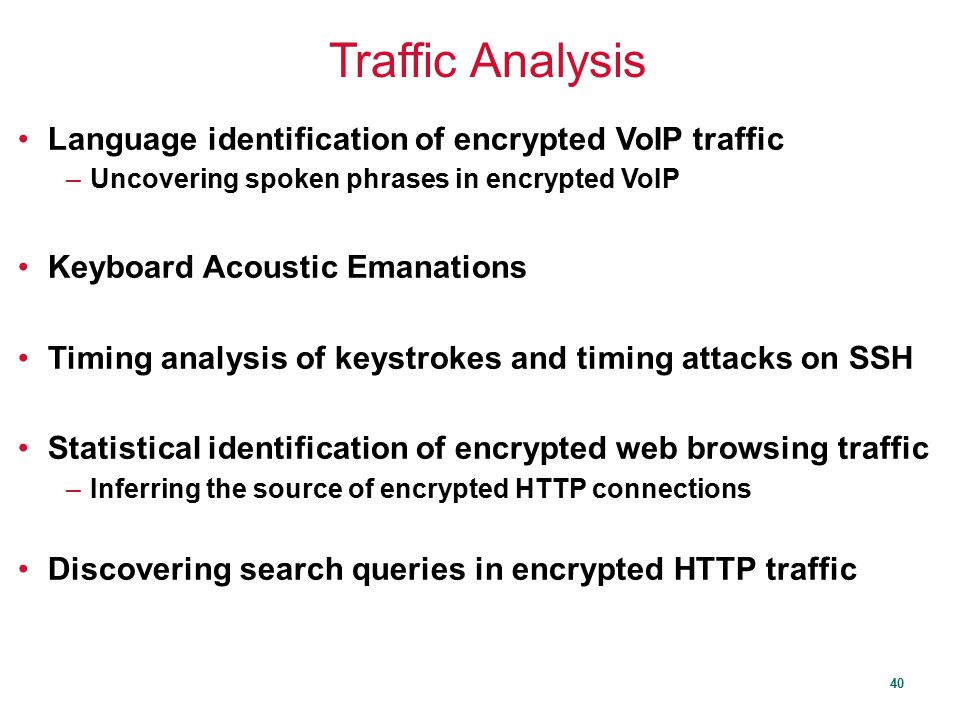 Traffic Analysis Language identification of encrypted VoIP traffic
