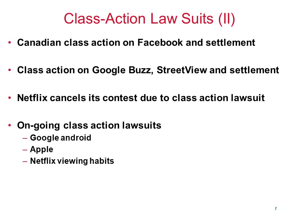Class-Action Law Suits (II)