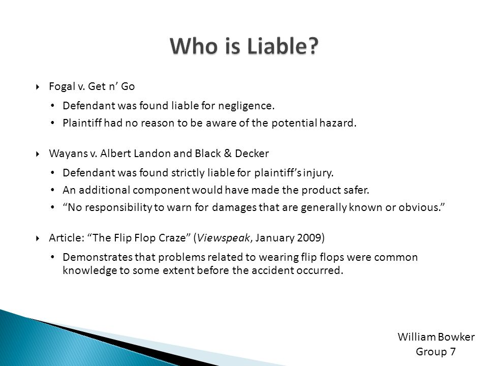 Who is Liable Fogal v. Get n' Go