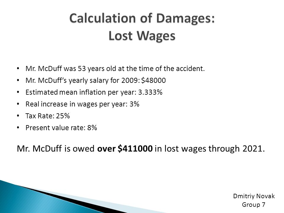 Calculation of Damages: Lost Wages