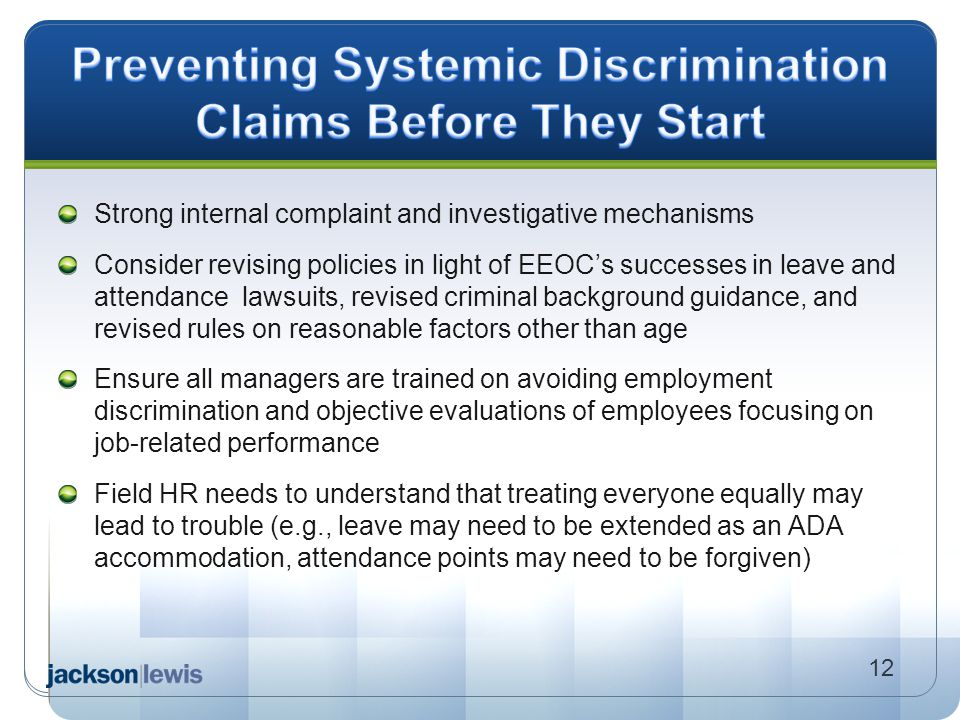 Preventing Systemic Discrimination Claims Before They Start