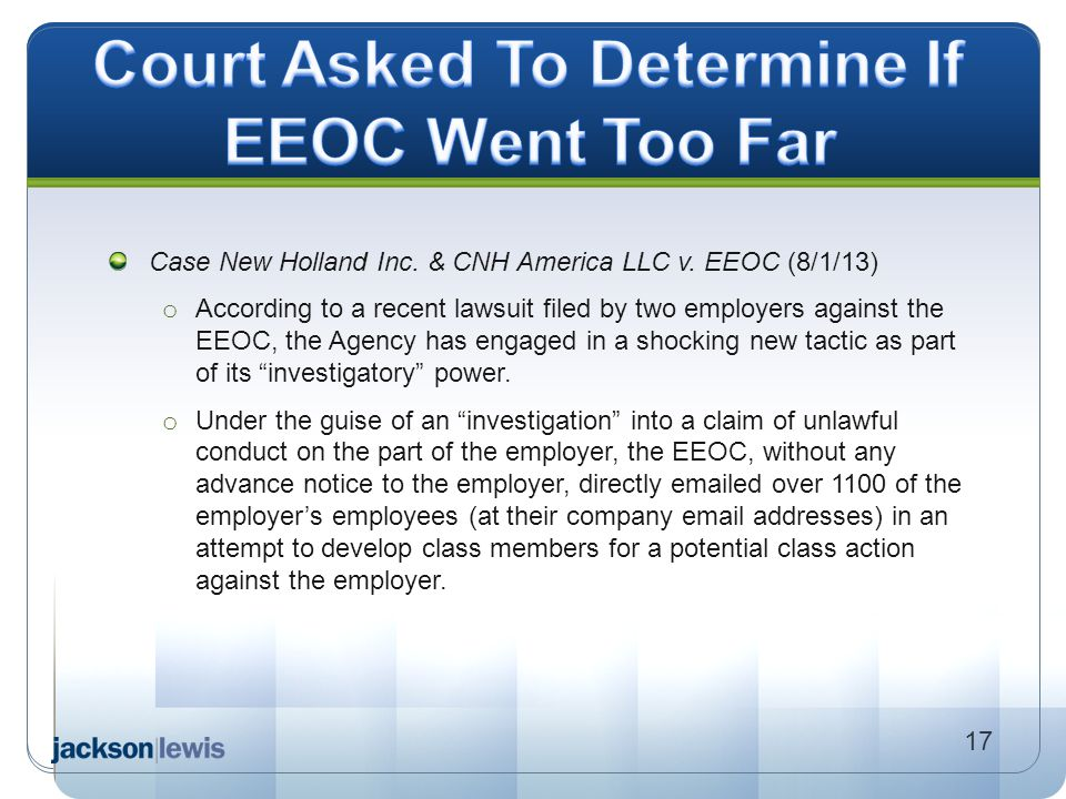 Court Asked To Determine If EEOC Went Too Far