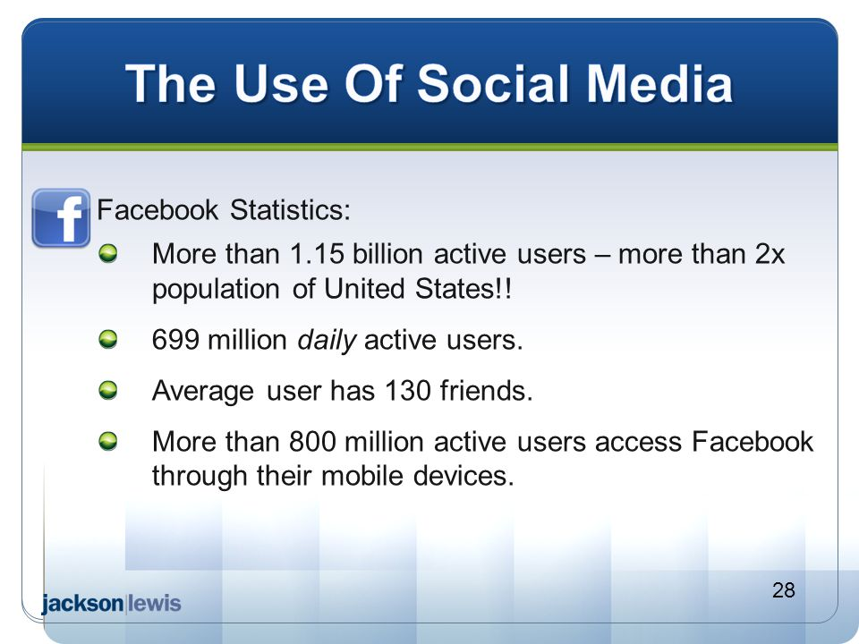 The Use Of Social Media Facebook Statistics: