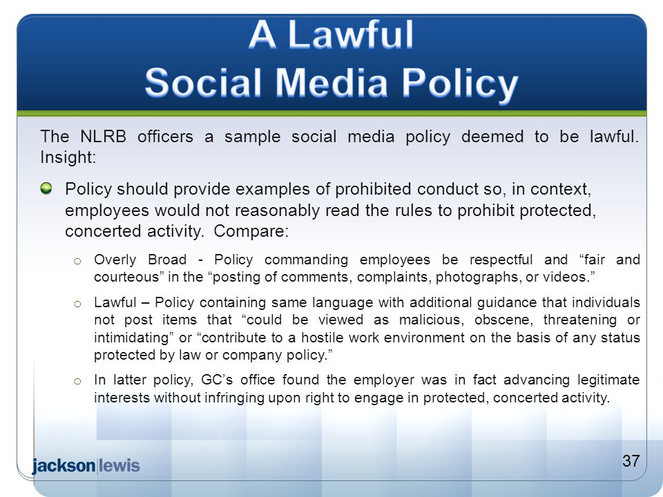 A Lawful Social Media Policy