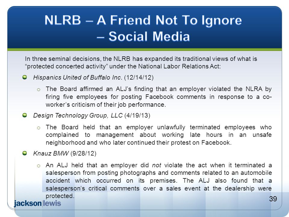 NLRB – A Friend Not To Ignore – Social Media