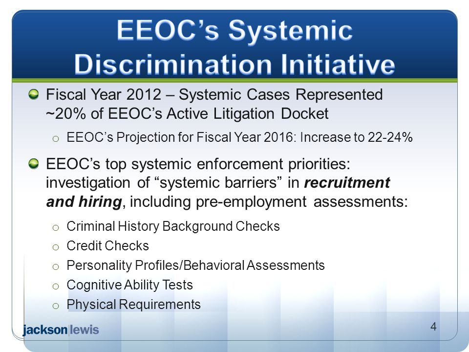 EEOC's Systemic Discrimination Initiative