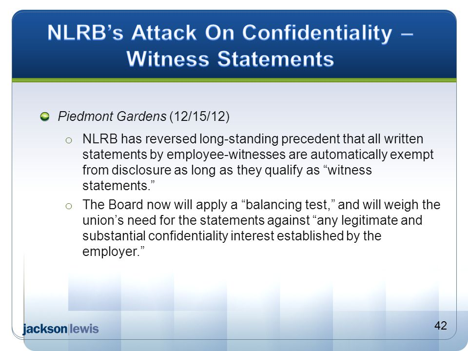 NLRB's Attack On Confidentiality – Witness Statements