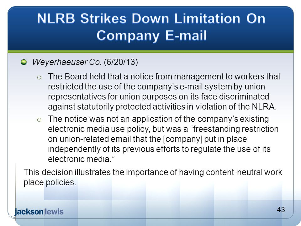 NLRB Strikes Down Limitation On Company E-mail