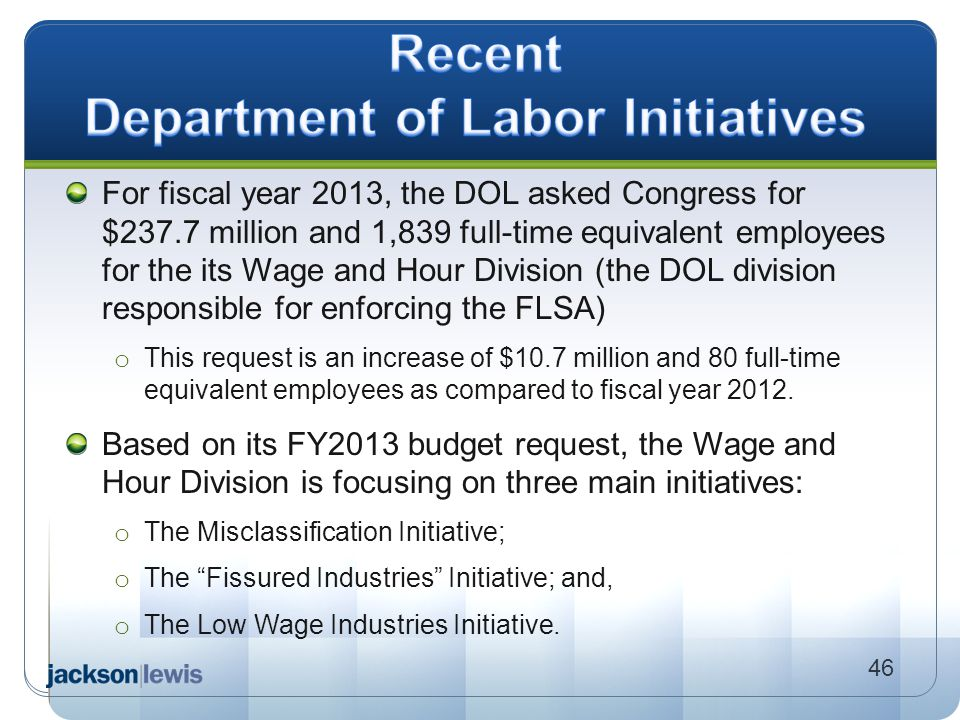 Recent Department of Labor Initiatives
