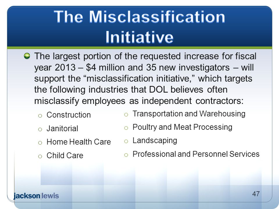The Misclassification Initiative