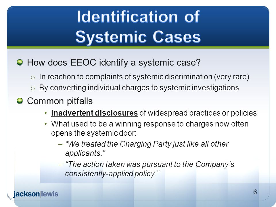 Identification of Systemic Cases