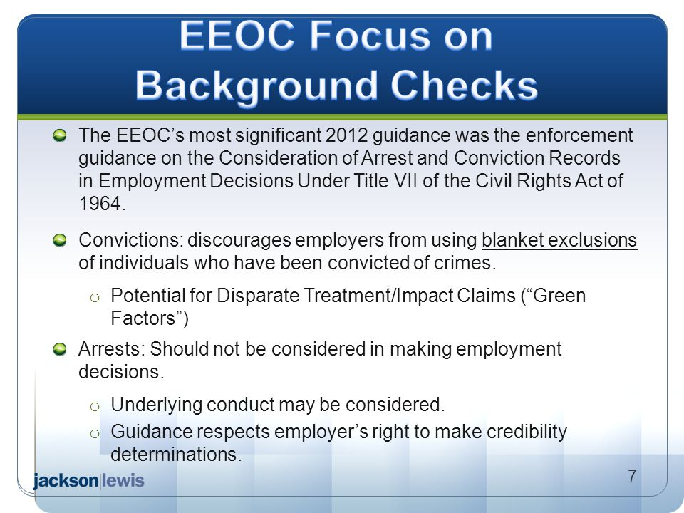 EEOC Focus on Background Checks