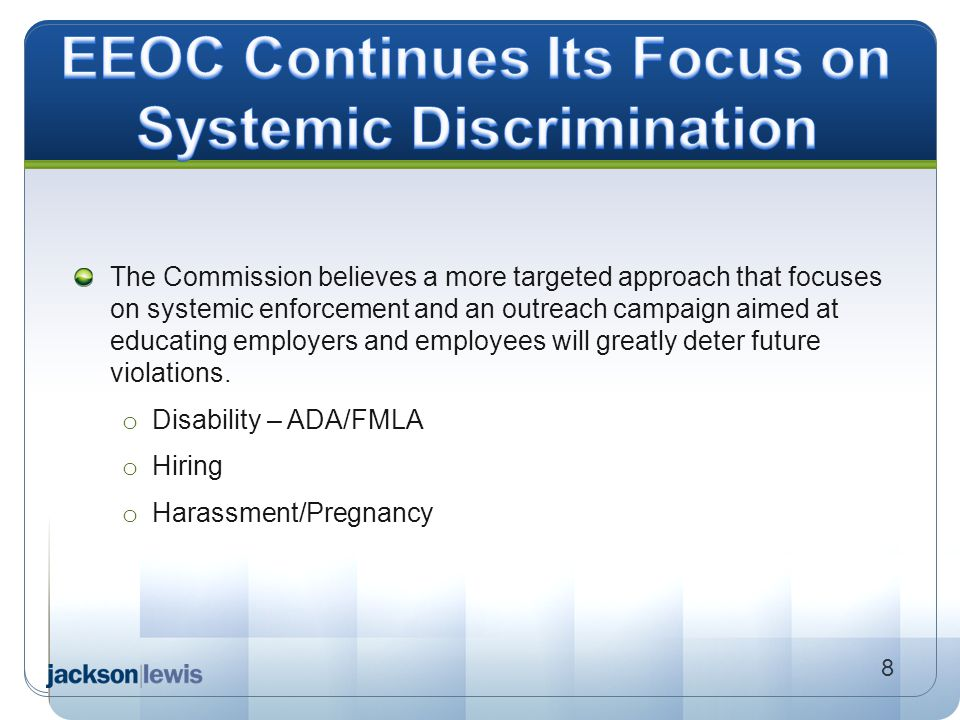 EEOC Continues Its Focus on Systemic Discrimination