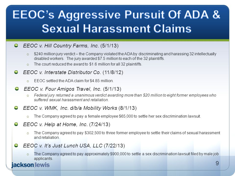 EEOC's Aggressive Pursuit Of ADA & Sexual Harassment Claims