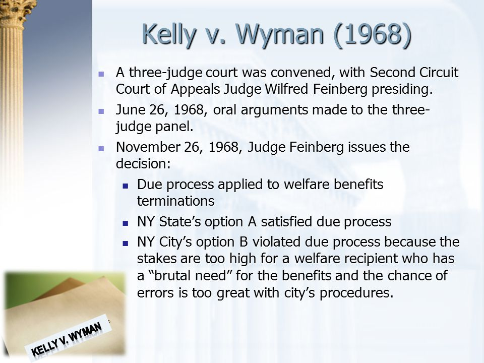Kelly v. Wyman (1968) A three-judge court was convened, with Second Circuit Court of Appeals Judge Wilfred Feinberg presiding.