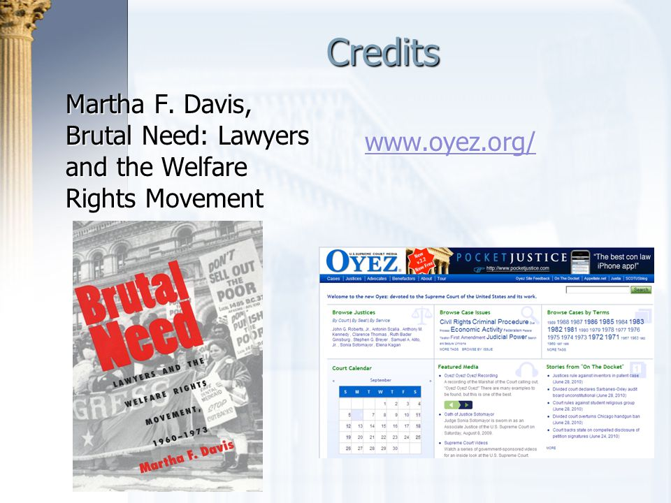 Credits Martha F. Davis, Brutal Need: Lawyers and the Welfare Rights Movement. www.oyez.org/ Credits.