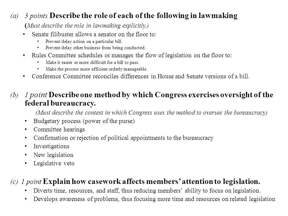 3 points Describe the role of each of the following in lawmaking