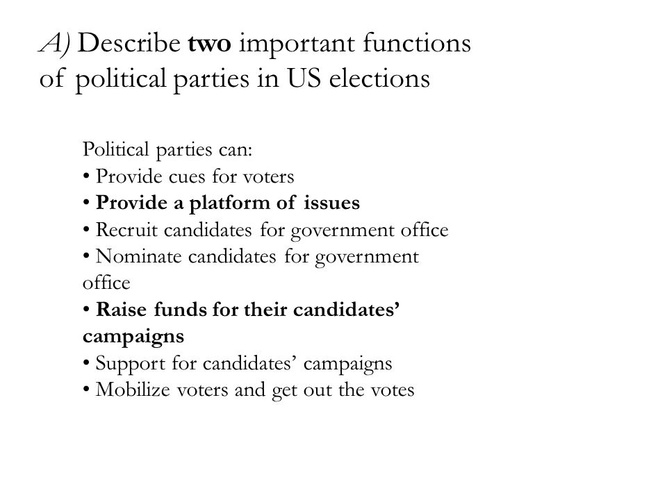 A) Describe two important functions of political parties in US elections