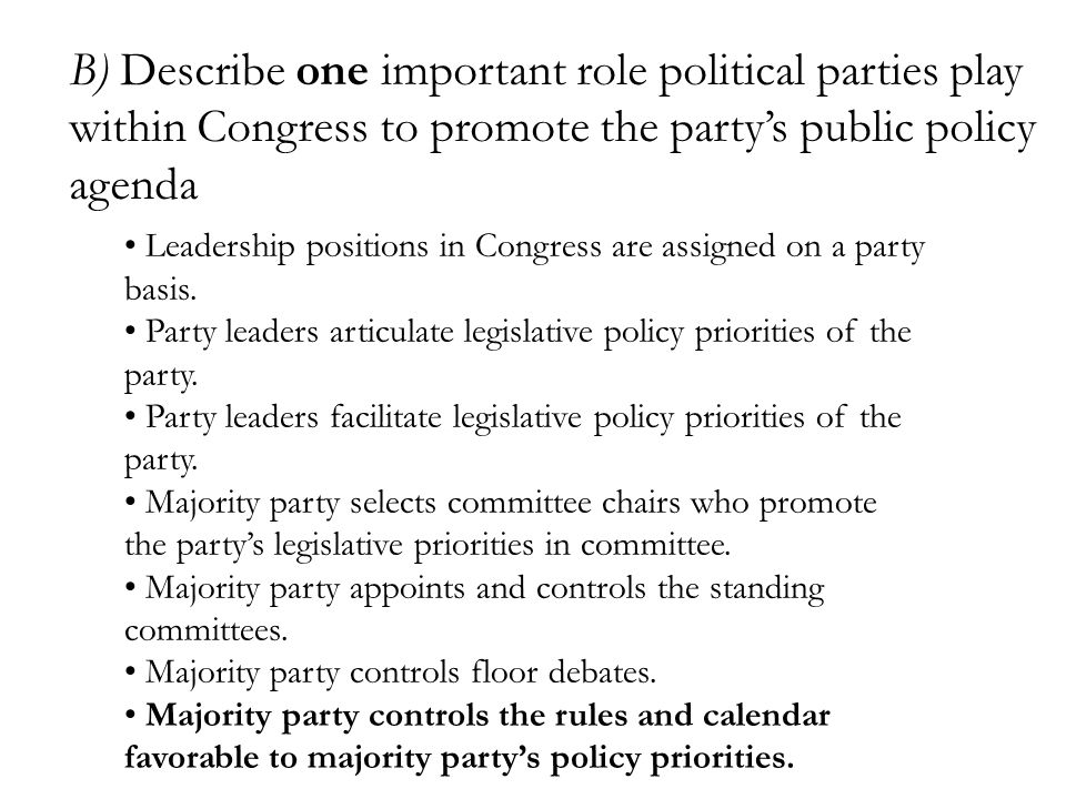 B) Describe one important role political parties play within Congress to promote the party's public policy agenda