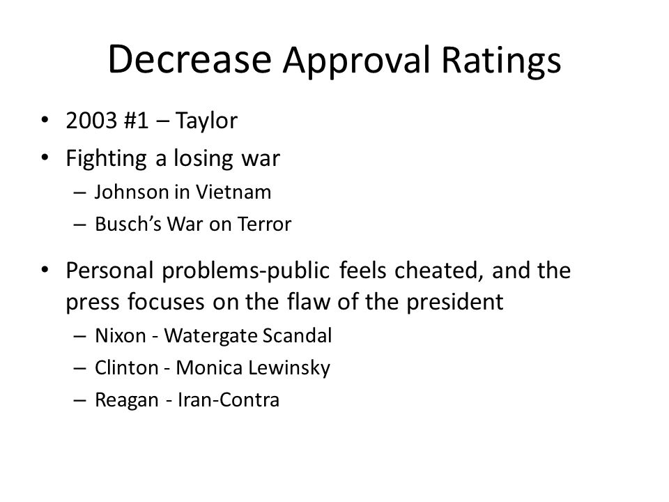 Decrease Approval Ratings