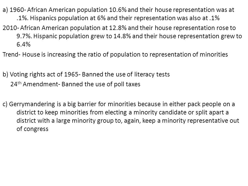 a) 1960- African American population 10