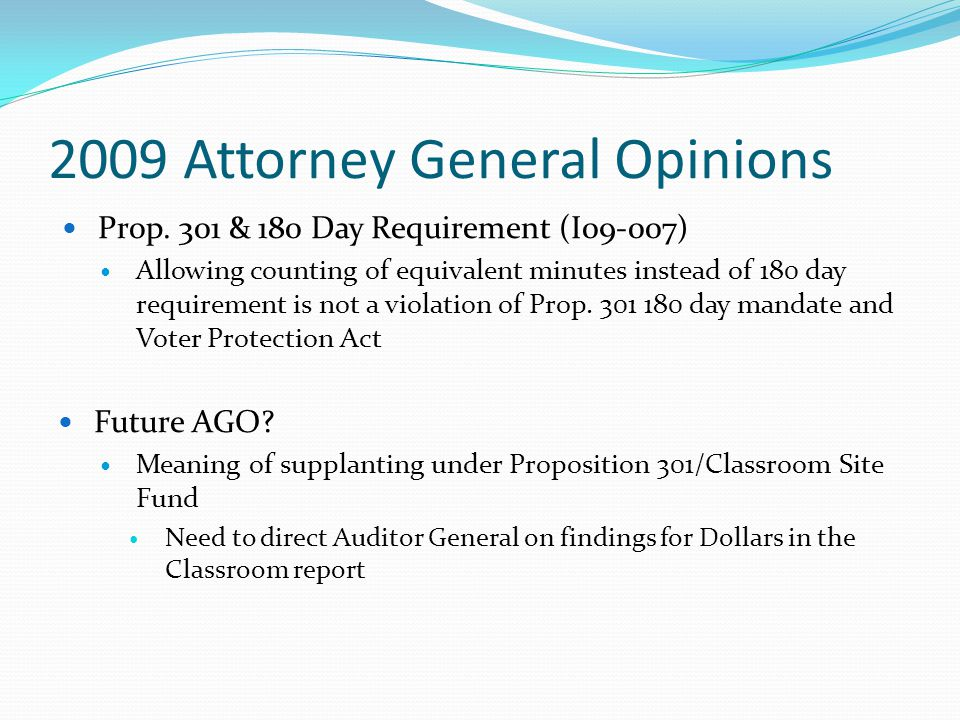 2009 Attorney General Opinions