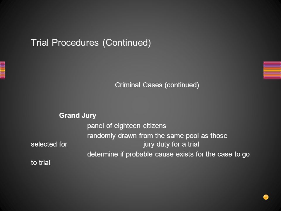 Trial Procedures (Continued)