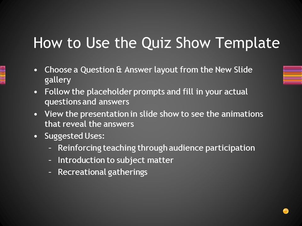 How to Use the Quiz Show Template