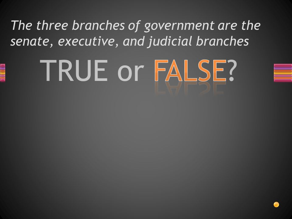 The three branches of government are the senate, executive, and judicial branches
