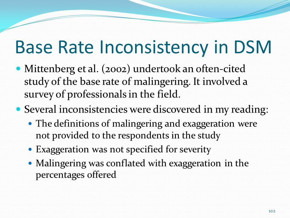 Base Rate Inconsistency in DSM