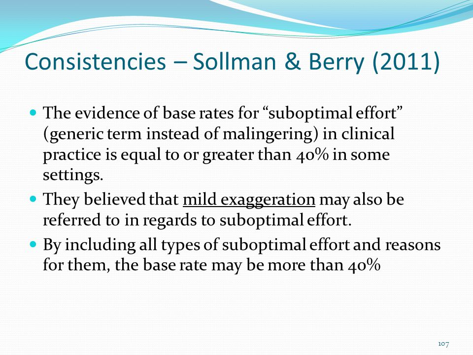 Consistencies – Sollman & Berry (2011)