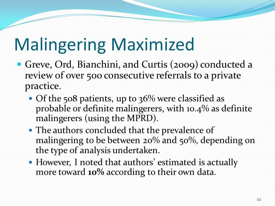 Malingering Maximized