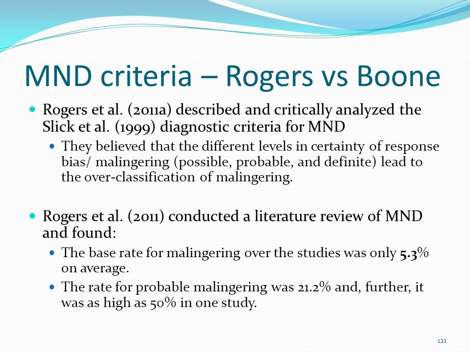 MND criteria – Rogers vs Boone