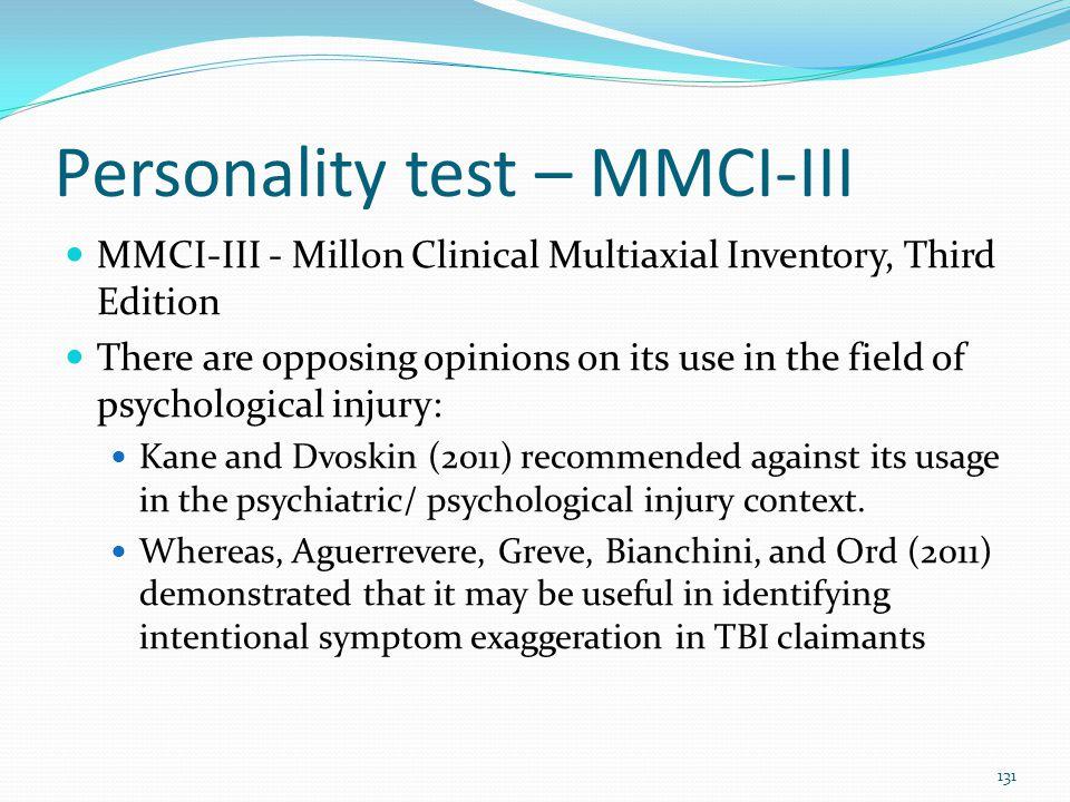 Personality test – MMCI-III