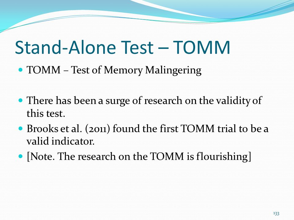 Stand-Alone Test – TOMM