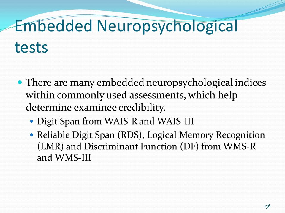 Embedded Neuropsychological tests